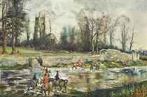 The Vale of the White Horse Hunt crossing the Thames at Kempsford