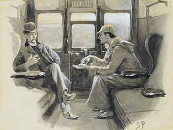 [DOYLE, Arthur Conan]. PAGET, Sidney (1860-1908), Illustrator. Original gouache and watercolor drawing for Arthur Conan Doyle's Sherlock Holmes story The Adventure of Silver Blaze, signed SP in lower right-hand corner. The drawing is captioned in ink (probably by Paget) along the right-hand margin: Holmes gave me a sketch of the events. Published in The Strand Magazine, December 1892, p. 646.