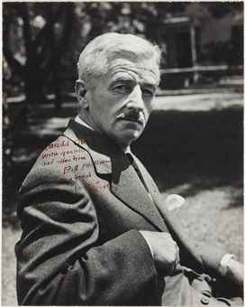 FAULKNER, William. Black-and-white seated half-length portrait, inscribed to Harold Ober, 1954. 236 x 189 mm. With the contemporary typed legend from Harold Ober Associates. Matted, framed and glazed.