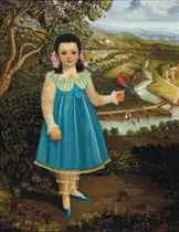 Niña con un vestido azul con un párajo