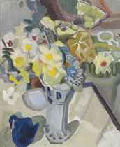 Spring Flowers with Blue Teapot