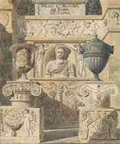 Roman reliefs, busts and urns: design for a frontispiece