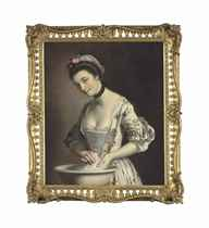 A lady's maid soaping linen