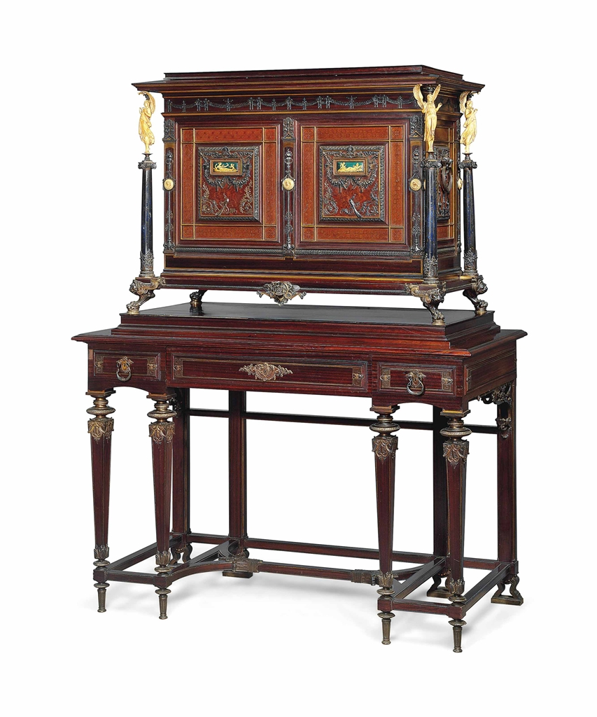 an important french gilt and silvered bronze enamel and. Black Bedroom Furniture Sets. Home Design Ideas