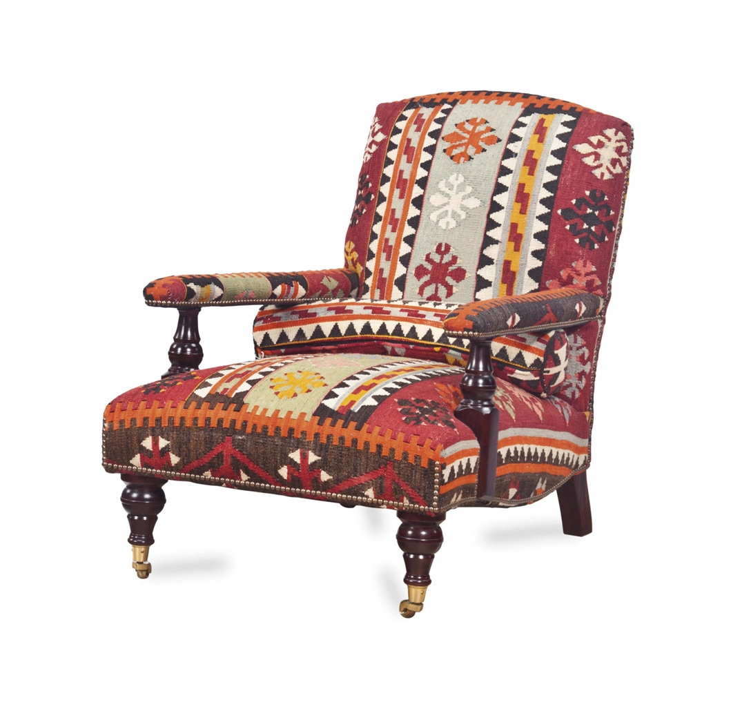 An English Kilim Upholstered Armchair By George Smith