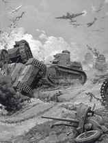 The battle of the tanks: The first onslaught of the German attack (illustrated left); and The brilliant rescue of the B.E.F.: The scene on the beaches of Dunkerque (illustrated right)