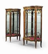 A NEAR PAIR OF FRENCH ORMOLU-MOUNTED KINGWOOD VITRINES
