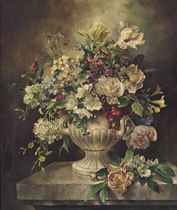 Roses, forget-me-nots, tulips and other flowers, in a vase, on a marble plinth