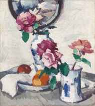Still life with roses and fruit