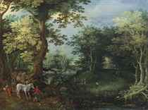 A wooded landscape with travellers and a horse drawn wagon by a pond