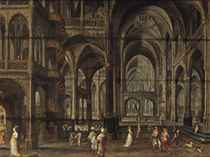 The interior of a Gothic cathedral with costumed figures