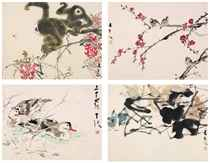 SPARROWS AND SPRING FLOWERS; BLUE BIRDS AND BOTTLE-GOURDS; TWIN GIBBONS AMIDST FLOWERS; BATHING DUCKS