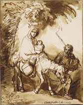 The Flight into Egypt (recto); The Supper at Emmaus (verso)