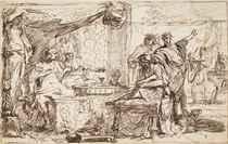 Esther accusing Haman in the presence of Ahasuerus