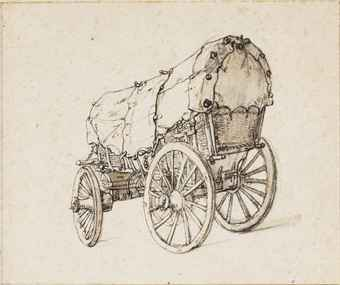 A four-wheeled wagon