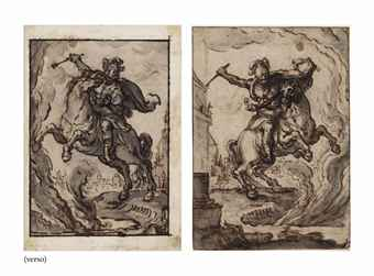 Marcus Curtius leaping on horseback into the abyss (recto); Further studies of the same (verso)