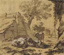 Sheep by a barn