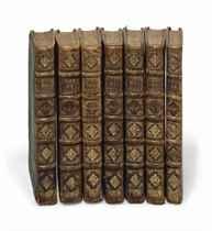 MOLIÈRE (1622-1673). Les Oeuvres de Monsieur de Molière. Paris: Denys Thierry, Claude Barbin et Pierre Trabouillet, 1676 [1674-1675]. 7 volumes in-12 (159 x 89 mm). Reliure de l'époque, veau brun moucheté, dos à nerfs ornés, tranches mouchetées.