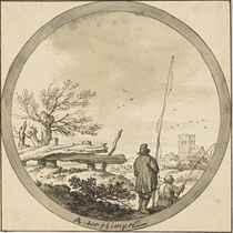 Two fishermen, seen from the rear, in a landscape