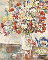 Flowers in a Jug with Teapot