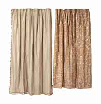 TWO PAIRS OF PAINTED-SILK CURTAINS,