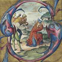 THE STONING OF ST STEPHEN, historiated initial 'S' cut from