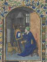 ST LUKE PAINTING THE VIRGIN, miniature on a leaf from a Book