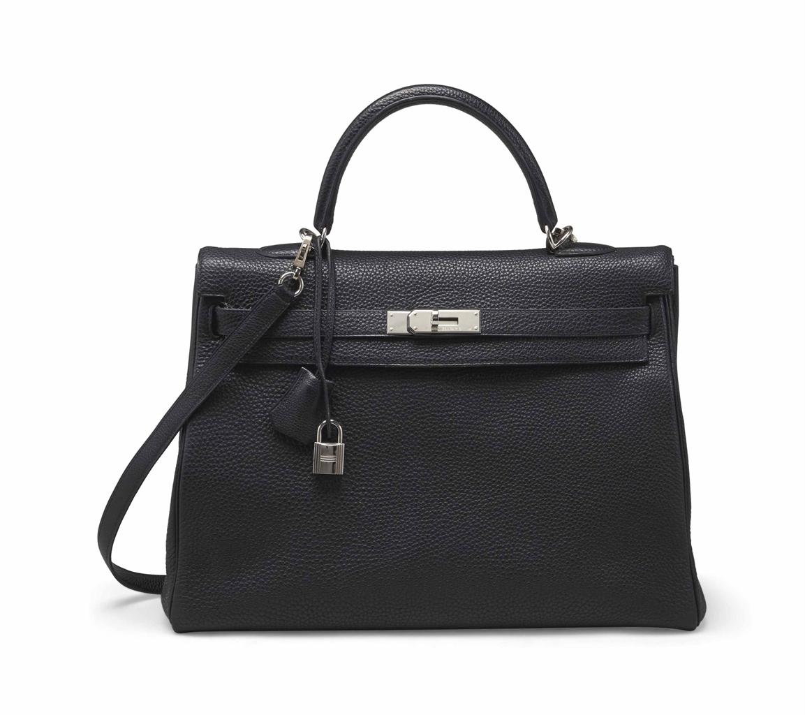hermes handbag replica - SAC KELLY 35 EN CUIR TOGO NOIR, GARNITURE EN M��TAL ARGENT�� ...