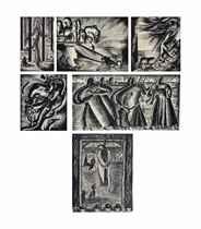 (i) Mathbah Al Kneeseh (The Church Altar) (ii) Ta'mol (Contemplation) (iii) Al Majhool (The Unknown) (iv) Study (v) Tarqab (Expectation) (vi) Mathbahat Dinshaway (The Dinshaway Massacre)