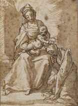La Vierge à l'Enfant posant une couronne de martyre sur la tête de sainte Catherine (recto); Etudes subsidiaires de l'Enfant Jésus et de torses (verso, pl. 1)