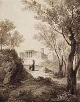 Personnages sur un chemin menant vers le temple de la Sybille, Tivoli