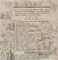 Feuille de croquis sur une page imprimée d'une vente de tableaux des 11-12 octobre 1776