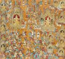 A LARGE PAINTING OF THE GREAT MAHABHARATA WAR