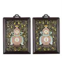 TWO ENAMELLED AND GILT DAJI WALL PLAQUES