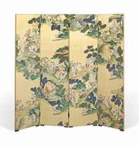 A POLYCHROME-PAINTED SILK FOUR-FOLD SCREEN