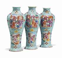 A SET OF THREE CHINESE FAMILLE ROSE 'MANDARIN-PATTERN' VASES