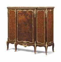 A FRENCH ORMOLU-MOUNTED KINGWOOD, VERNIS MARTIN AND PARQUETR