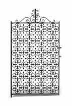 A SINGLE BLACK-PAINTED WROUGHT-IRON GATE