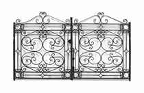 A PAIR OF ENGLISH BLACK-PAINTED WROUGHT-IRON GARDEN GATES