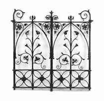 A PAIR OF BLACK-PAINTED WROUGHT-IRON GATES