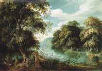 An Arcadian wooded river landscape with animals in the thickets, travellers with a dog on a path beyond