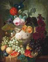Peonies, roses, an iris and other flowers in a vase with putti, with a bird's nest and peaches, a pineapple, a pomegranate, grapes and other fruit on a stone ledge
