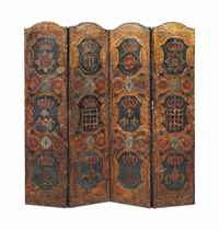 A VICTORIAN FOUR FOLD GILT AND POLYCHROME DECORATED EMBOSSED