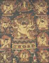 A BLACK-GROUND THANGKA DEPICTING THE EIGHT PRONOUNCEMENT HER