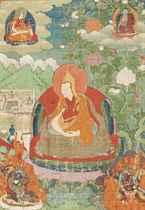 A THANGKA DEPICTING A DALAI LAMA INCARNATION