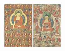 TWO THANGKAS DEPICTING SHAKYAMUNI BUDDHA