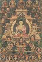A THANGKA DEPICTING MEDICINE BUDDHA