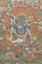 A THANGKA DEPICTING SHADBHUJA MAHAKALA