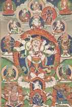 A THANGKA DEPICTING WHITE MAHAKALA