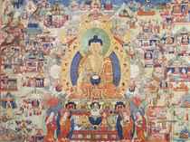 A VERY LARGE THANGKA DEPICTING BUDDHA SHAKYAMUNI AND HIS LIF